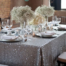 120x180cm Sparkling rose/Gold/Silver Embroidery Mesh Sequin Tablecloth Table Cover Overlay for Wedding/Party Christmas Decor(China)