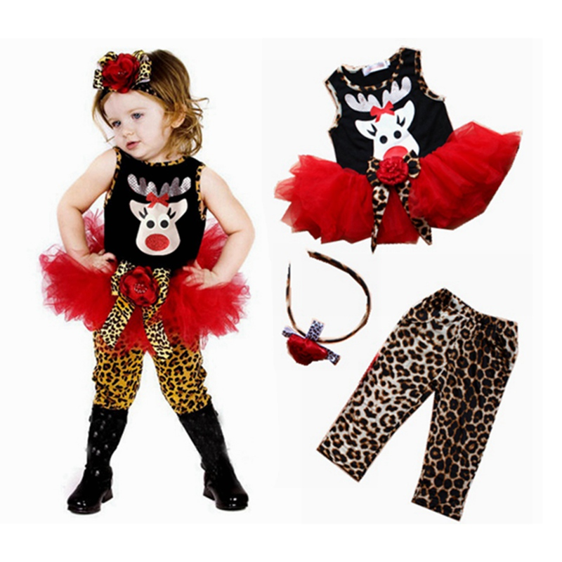 Davids Deer Christmas Costumes for Kids Clothes Conjunto Menina 3PCS Baby Girls Clothing Sets Toddler Girl Christmas Outfits<br><br>Aliexpress