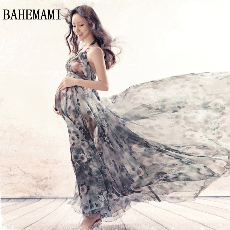 BAHEMAMI Maternity Dress for Photo Shoot Maxi Maternity Gown Pregnant Woman Photography Props Clothes aternity Chiffon Gown 2018<br>