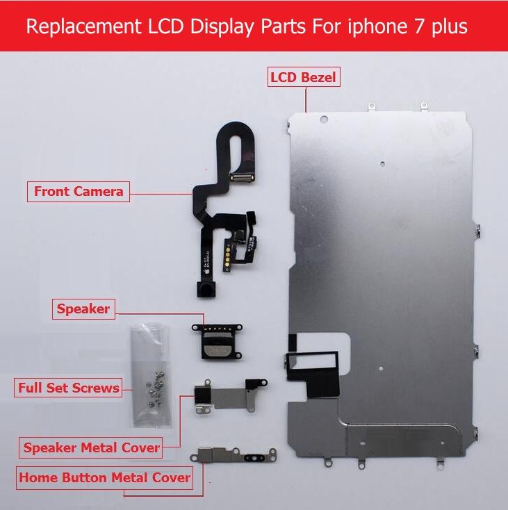 Full Set parts For Apple iPhone 7 7 plus LCD display Metal Bezel /Front camera /speaker/ home button flex cable / Screw/ Bracket