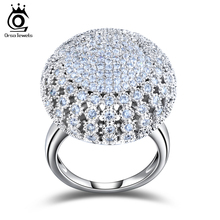 ORSA JEWELS 2017 Charming Silver Color 218 Pieces 2mm AAA Zircon Full Paved Round Shaped Vintage Ring Very Beautiful Ring OR48(China)