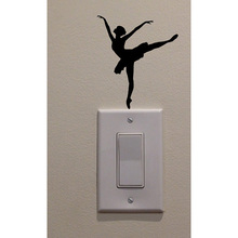 Ballet Dancer Dancing Home Decoration Vinyl Switch Sticker Decal 5WS0021(China)