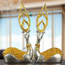 Deers Figurines Artware Resin Deer Ornaments Miniatures Figurine Home Desk Crafts Wedding Gift Resin Crafts Silver/Golden