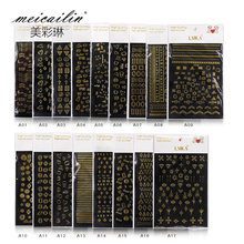Meicailin 1 Sheet Embossed 3D Nail Art Stickers Decals Water Transfer Watermark Decals DIY Decoration For Beauty Nail Tools(China)