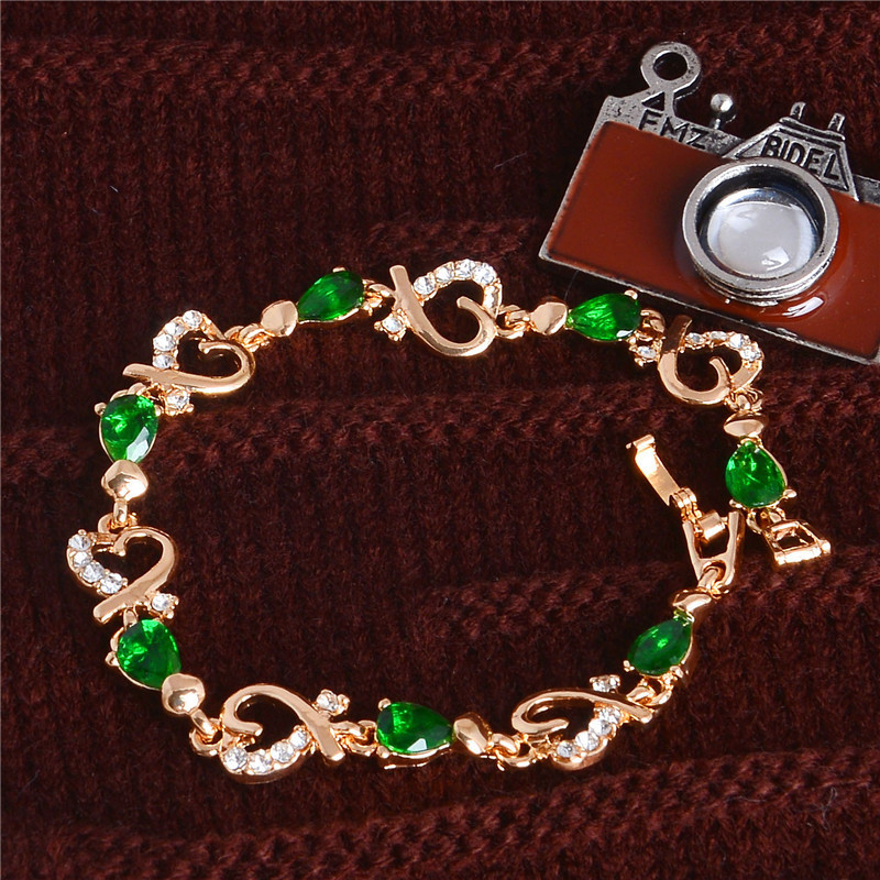 MISANANRYNE New 5 colors Beautiful Bracelet for Women Colorful Austrian Crystal Fashion Heart Chain Bracelet Wholesale