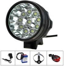 12V 21000 Lumen 10T6 Bike Light 10xCREE XML T6 LED Headlamp Bicycle Rear Light Accessories +15000mAh 18650 Battery Pack+ Charger
