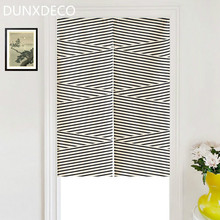 DUNXDECO Door Curtain Partition Cortinas Modern Black Stripe Linen Look Fabric Kitchen Half Rideau Home Store Decoration