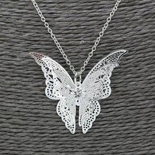 Women Hollow Out Butterfly Pendant Necklace Elegant Silver Plated Long Chain Necklaces Collier Sautoir Fashion Jewelry Gift