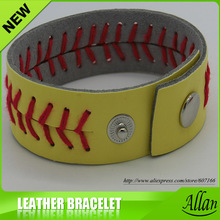 Softball Bracelets Yellow Leather Red Seamed Stitching Sport Team WHOLESALE lot(China)
