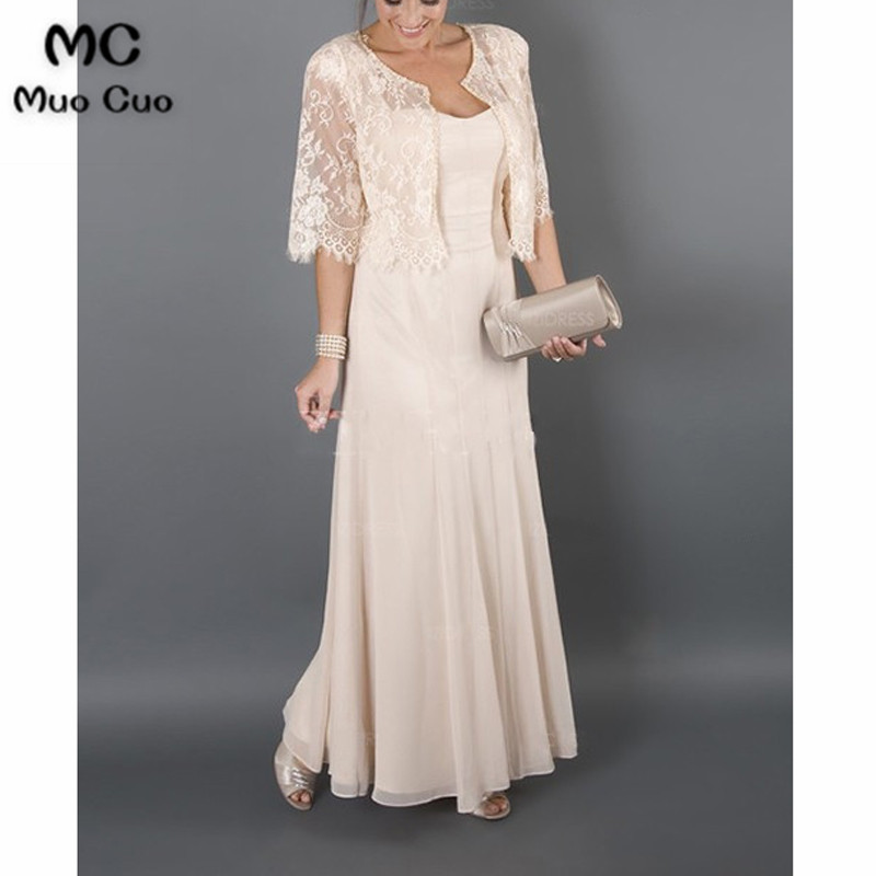 2017 Bridal Mother Dresses for Beach Wedding Long Cap Sleeves Wedding Guest Dresses Mother of the Groom Dresses with Lace Jacket