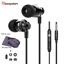 Langsdom M300 Earphone for Phone 3.5mm Wire Headset with Microphone Stereo Earpiece for Xiaomi iPhone Mp3 Player Laptop Computer