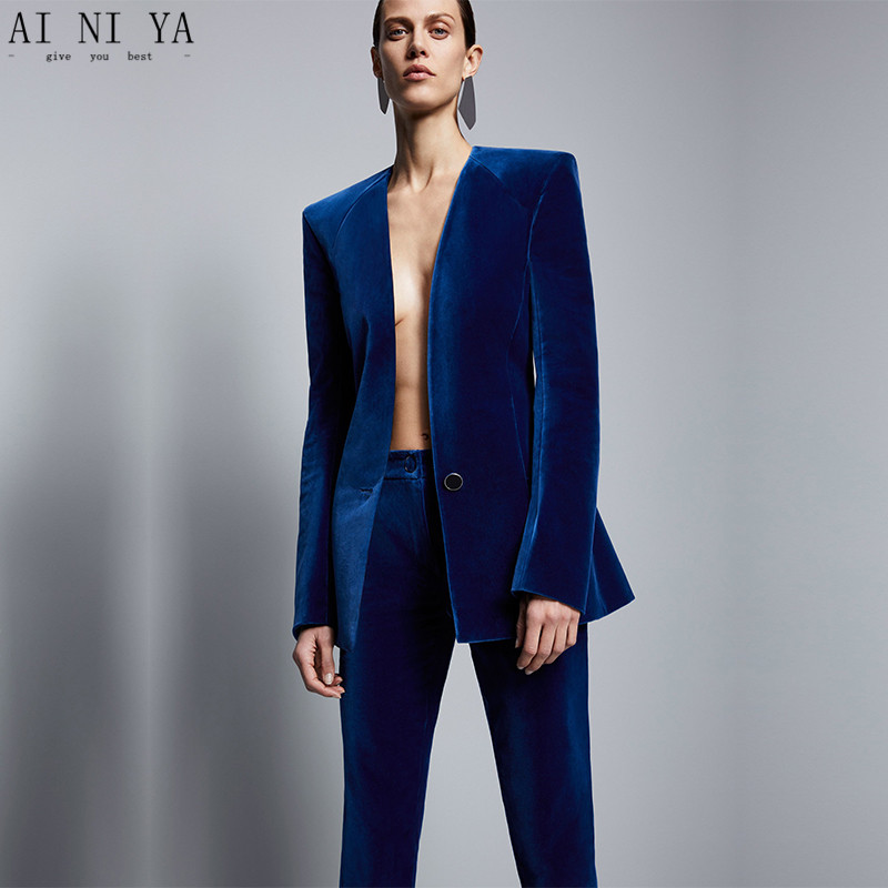 3-28 128 Royal Blue Velvet Jacket+Pants Formal Elegant Pants Suit Womens Business Suits Slim Fit Female Office Uniform 2 Piece Set Custom