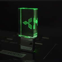 Crystal USB Flash Drive 4GB 8GB 16GB 32GB for Mitsubishi Car USB 2.0 Pen Drive Car USB Stick with LED Light white box