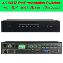 4K HD video switcher 5x1 with HDMI and HDBaseT output 3 HDMI 1 VGA(YPbPr/CVBS) and 1 DisplayPort input HDMI and HDBaseT output(China)
