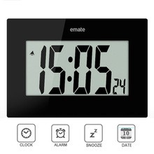 EMATE Brand Big Screen Electronic Digital Led Wall Clock Super Quiet Alarm Clock Office Table Clock(China)
