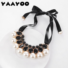 YAAYOO New Temperament Big Imitation Pearl Resin Necklace & Pendant Ribbon Statement Necklace Women Collar Jewelry(China)