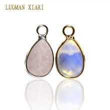 Wholesale Pink Quartz Opal Water Drop Faceted Natural Stone Charm Pendant DIY Fit Necklace For Women Jewelry Making 9*12 mm