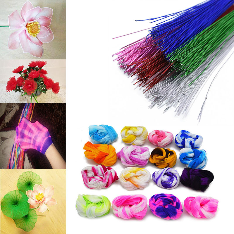 Multicolor Flower Making Nylon Stockings 26# Paper Iron Wire for Mesh Flower DIY Scrapbooking Material Home Party Decoration 8