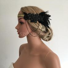 Woman Lady Flapper Feather Beads Chian Headband Hairband 1920s Great Gatsby Royal Ascot Race Fascinator