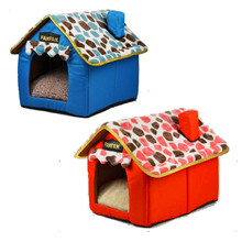 Pet bed dog cat tent house Kennels for small dog Soft puppy Bed teddy indoor House Colorful stone chimney with zipper detachable