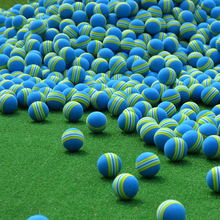 Sponge Golf 2016 Striped Free Shipping Hot NEW Foam Golf Balls Blue Rainbow Sponge Indoor Practice Training Aid Elastic(China)
