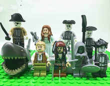 PG8048 Pirates of the Caribbean series Lesaro Captain Jack Edward Mermaid Davy Jones VS Ghost Zombie Shark Jack Blocks Baby Toys(China)
