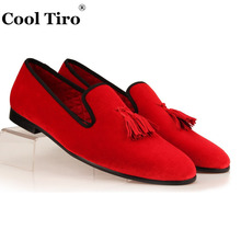COOL TIRO Tassel Men Loafers Red Velvet Slippers Smoking Slip-on Men's Flats Party Wedding Luxury Dress Shoes black blue gold(China)