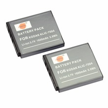 DSTE 2PCS KLIC-7004 Rechargeable Battery for KODAK Q7 Q10 Q-S1 M1033 V1073 V1273