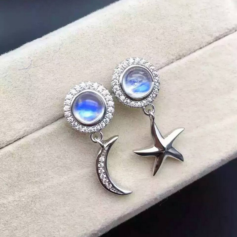 Fidelity natural 6mm moonstone stud earrings 925 sterling silver star moon fine jewelry for women party Natural blue gemstone