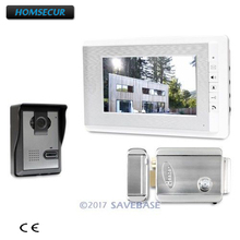 HOMSECUR 7inch Video Door Entry Security Intercom Electric Lock Supported with Intra-monitor Audio Intercom for House/ Flat(China)