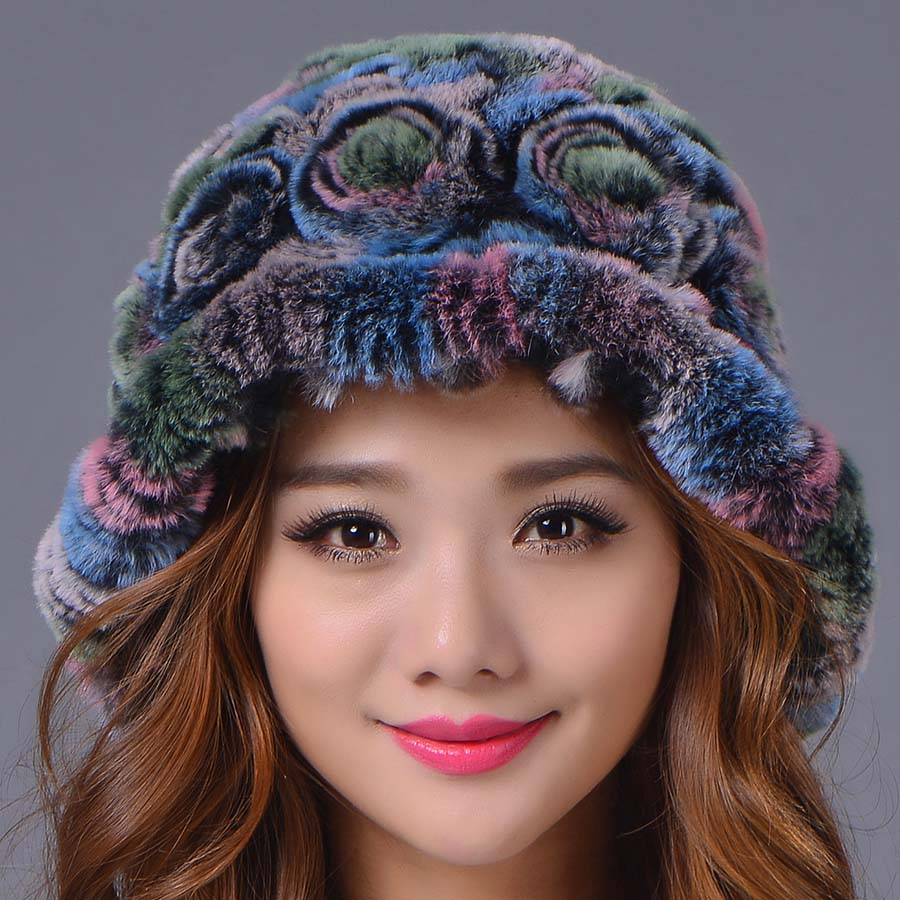 2017 New Rex Rabbit Fur  Hat Women Winter Elegant Beanies Hat Warm Casual Color Genuine Caps  Russia Fashion Female CapsОдежда и ак�е��уары<br><br><br>Aliexpress