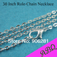 76cm Silver Rolo chain necklace, 30 Inch Silver Plated Metal Chain Necklace, 3mm Thick Oval Link Silver Chains