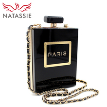 NATASSIE Women Clutch Bags Acrylic Clutches Fashion Party Bags Ladies Designer Perfume Bottle Shape Purses(China)