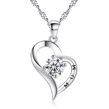 Crystal Heart Pendant Real Rhodium Plated Necklace for Women MUM Jewelry