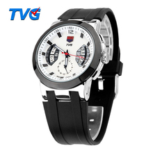 2017 Brand New Ultrathin Dial Rubber Strap Analog Quartz Watch TVG Men Military Watch Sports Wristwatch Relogio Masculino