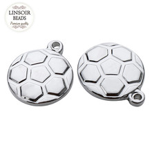 10pcs/lot Stainless Steel Football Floating Charms Pendant Bracelet Dia13mm Silver Tone Metal Charm For Jewelry Making F3934