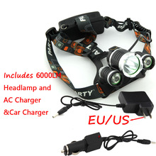 Wholesale Price! RJ3000 6000 Lumens CREE XML T6 +2R5 3 LED Headlight,Headlamp,Fishing,Head Lamp Light +AC Charger+Car Charger