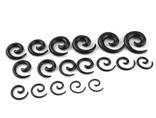 Redive jewelry 18pcs Earring Stretching Tapers Plug Stretcher Black Spiral Ear Body Jewelry ear Expanders tragus Piercing