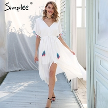 Simplee Backless v neck summer dress women Lace up tassel maxi dress casual 2018 Spring streetwear white long dress female(China)