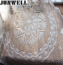 Junwell Christmas essential Handmade Crochet Flower Round Coffee Tablecloths Cotton Table cloth Doilies Cover cloth Home Textile(China)