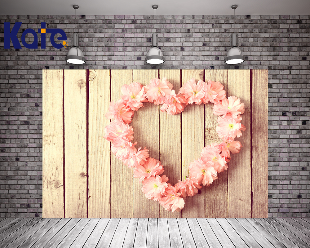 Kate 10x10ft  Wood Backgrounds For Photo Studio Pink Heart Flower Backdrops For Photographers Children  Party Photo Backdrop <br>