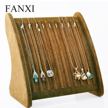 Oirlv Free Shipping Necklace Pendant Exhibitor Stand Coffee Ice Velvet Jewelry Display 10 Hooks Shelf Board Shop Organizer