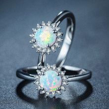 925  jewelry New Crystal from Austrian Angel Girl Simple Ring 925 silver Fire Opal Rings for Women Trendy Engagement