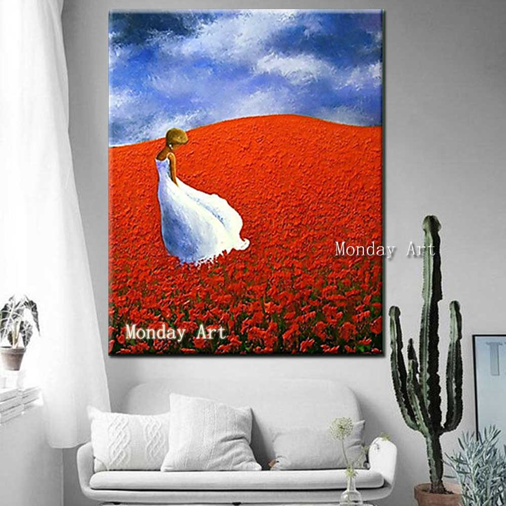 Hand-Painted-Thick-Oil-Flower-Girl-Landscape-Canvas-Oil-Painting-Abstrac-Wall-Art-Picture-Living-Room (2)