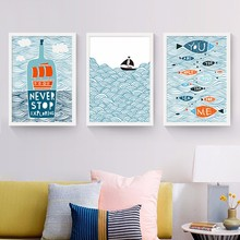 NEW Cartoon Fish Ocean Motivational Typography Quotes Mediterranean Art Print Poster Nautical Wall Picture Canvas Painting Decor