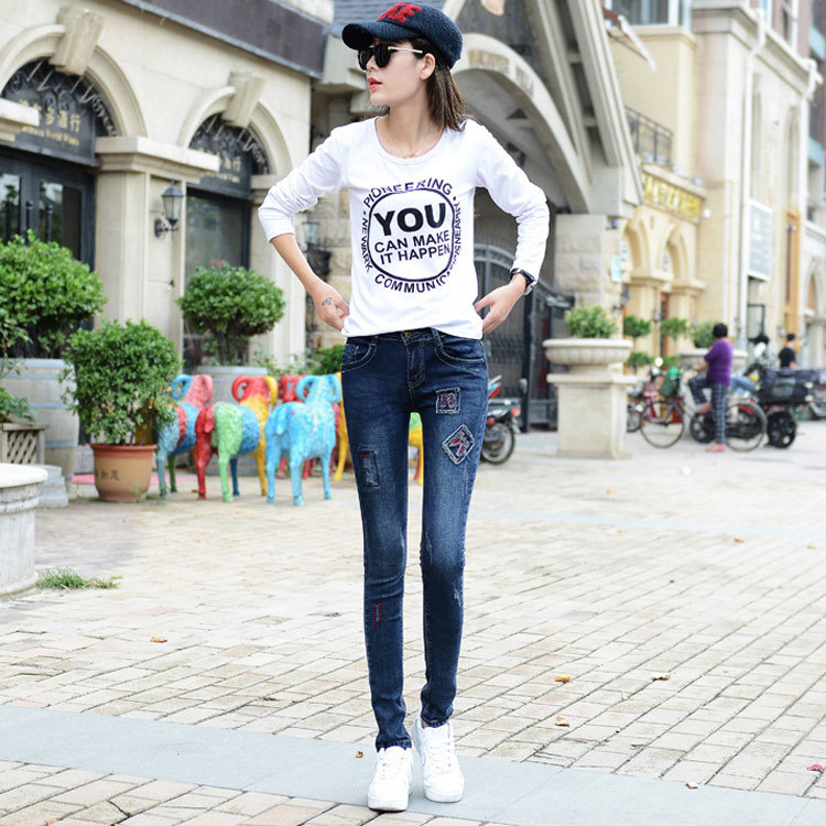 The new spring and summer 2017 Korean women slim stretch jeans embroidered denim trousers worn feet pencilОдежда и ак�е��уары<br><br><br>Aliexpress