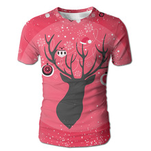 DUTRODU Fashion mens christmas Deer custom Full All Over short sleeve 100% cotton man o neck tops tees(China)