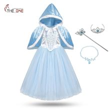MUABABY Girls Cinderella Cosplay Costume Children Flower Lace Princess Party Dresses Kids Girl Elsa Christmas Cape Fantasy Ball