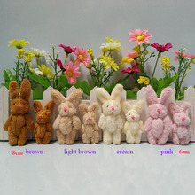 6cm 8cm Plush Mini Rabbit Joint Bare Pendants Stuffed Bunny For Key chain/Bouquet/Mobile Phone/Bag Dolls soft Toys 50 pcs/lot