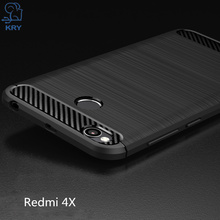 KRY Phone Cases Silicone Soft TPU Business Carbon Phone Cases For Xiaomi Redmi 4X Case Cover For Xiaomi Redmi 4X Case Capa Coque(China)